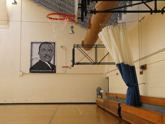 Inside Martin Luther King Park is an old basketball