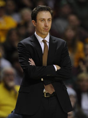 Minnesota head coach Richard Pitino watches his team play against Penn State during a March 8 game in Minneapolis.