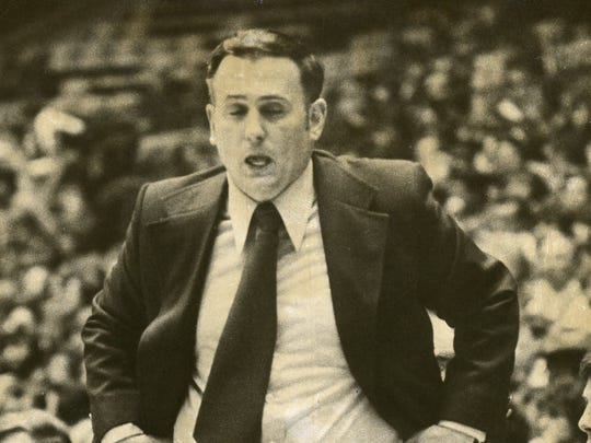 CBA coach Vinnie Cox stalks the sideline during the Colts' victory over Hudson Catholic in the 1973 Parochial A final at Jadwin Gym.