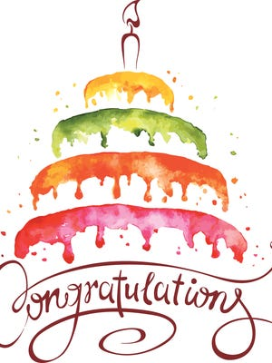 Watercolor vector illustration -- Cake and Congratulations