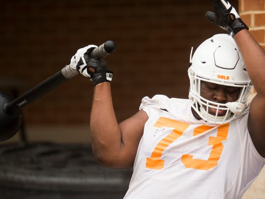 Tennessee's Trey Smith (73) participates in a conditioning drill during the first Vol football practice of the spring season at University of Tennessee in Knoxville, Tuesday, March 20, 2018. He is not cleared to practice this spring due to an undisclosed medical issue.