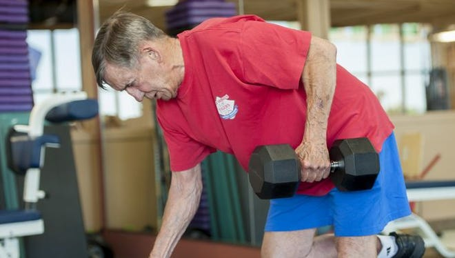 Ted Lindsay, almost 90, works out three days a week at the Troy Sports Center.