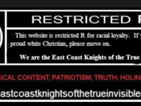 Underneath a statement disavowing hate and the KKK's old ways is this image on the website belonging to the East Coast Knights of the True Invisible Empire.