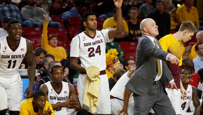 ASU head coach Herb Sendek coaches his team during an overtime men's basketball game at Wells Fargo Arena in Tempe on Dec. 20, 2014.