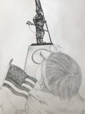 Alyssa Buckmon's drawing of a little girl admiring a statue of a soldier won her an award in Barnwell District 45's Veterans Day Art Contest.
