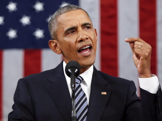 President Barack Obama delivers his State of the Union address before a joint session of Congress on Capitol Hill in Washington on Tuesday.