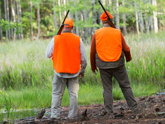 Two hunters standing, holding shotguns, wearing orange safety vests and hats, looking out at the woods.