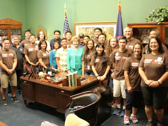 Guam Delegate Madeleine Bordallo met with Guam students who participated in this year's National History Day competition in Washington, D.C.