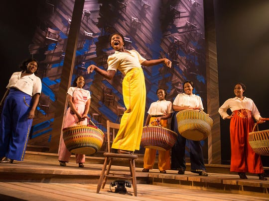 "Danielle Brooks (from left), Patrice Covington, Cynthia Erivo, Bre Jackson, Carrie Compere and Rema Webb in a scene from Broadway's ""The Color Purple."""