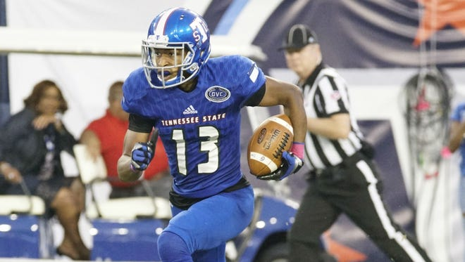 DeVon Johnson's 66-yard touchdown catch in the fourth quarter from Michael Hughes gave Tennessee State a 17-14 lead on Austin Peay Saturday night at Nissan Stadium.