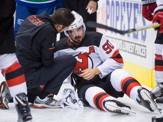 New Jersey Devils' Marcus Johansson, of Sweden, is