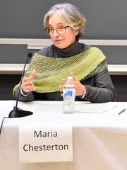 Maria Chesterton speaks about her personal experiences as an immigrant during forum on refugees and immigrants at Wilson College on Tuesday, March 21, 2017.