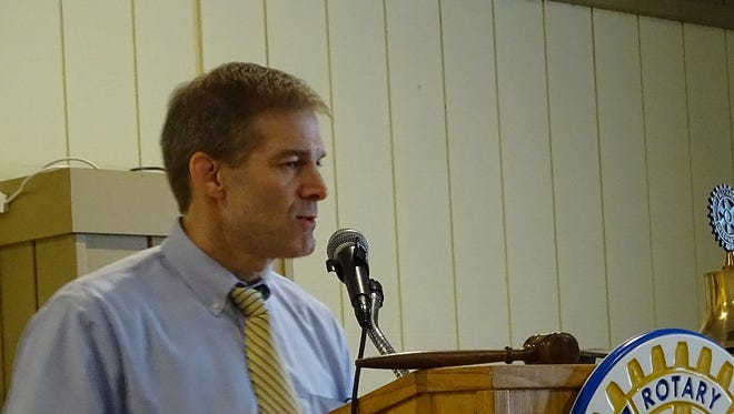 U.S. Rep. Rep. Jim Jordan of the 4th Congressional District tells members of the Fremont Rotary Club that the best way to fix healthcare is to repeal Obamacare completely and replace it with a market-friendly system.
