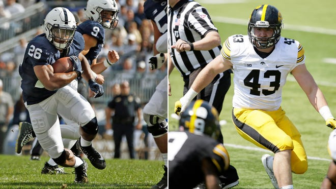 At left, in a Sept. 9, 2017, file photo, Penn State's Saquon Barkley (26) finds a hole in the Pittsburgh defense during the first half of an NCAA college football game in State College, Pa. At right, in an April 23, 2016, file photo, Iowa linebacker Josey Jewell looking to make a tackle during the team's NCAA college football spring game in Iowa City, Iowa. Barkley's Heisman campaign is off to a nice start. The preseason All-American ranks fourth in the nation in yards from scrimmage at 182.7 per game with five touchdowns. Jewell is also a preseason All-American and the Hawkeyes' leading tackler. The two are likely to collide frequently in Saturday night as No. 4 Penn State visits Iowa City. (AP Photo/File)