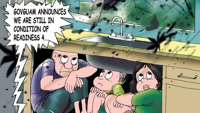 Sunday cartoon on storm alert system for 07/22/18.