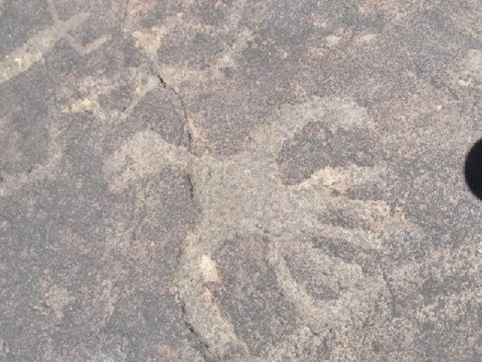 An ancient depiction of a thunderbird is pecked in