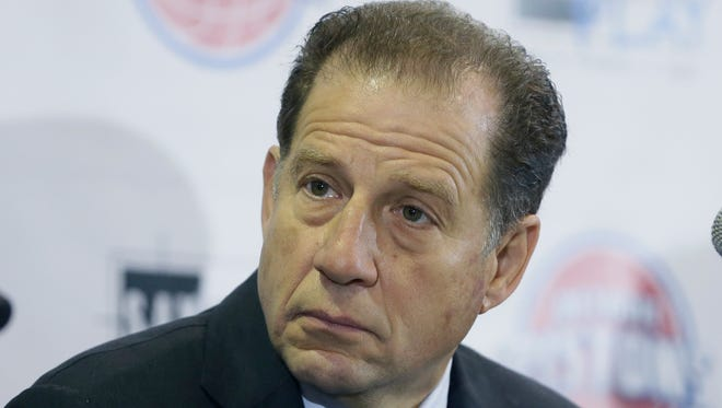 Palace Sports & Entertainment vice president Arn Tellem talks at a news conference in Detroit on Jan. 18, 2016.