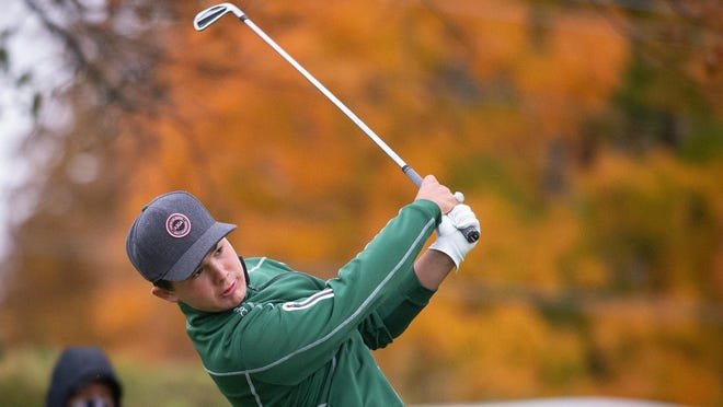 Boylan's Cooper Wyatt tees off on the first hole in the Class 2A Freeport sectional golf tournament on Monday at at Park Hills West in Freeport.