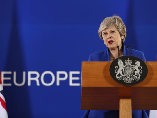 British Prime Minister Theresa May speaks during a
