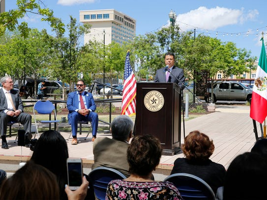 Juarez Mayor Armando Cabada, at the podium, joins El Paso Mayor Dee Margo and District 1 city Rep. Peter Svarzbein as he addressed invited guests for the signing of the Sister Cities Agreement ratifying the partnership between the two cities