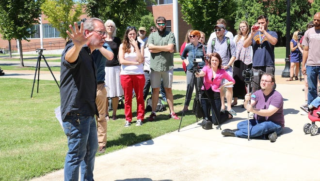 MTSU philosophy professor Michael Principe speaks out against Forrest Hall at an August protest.