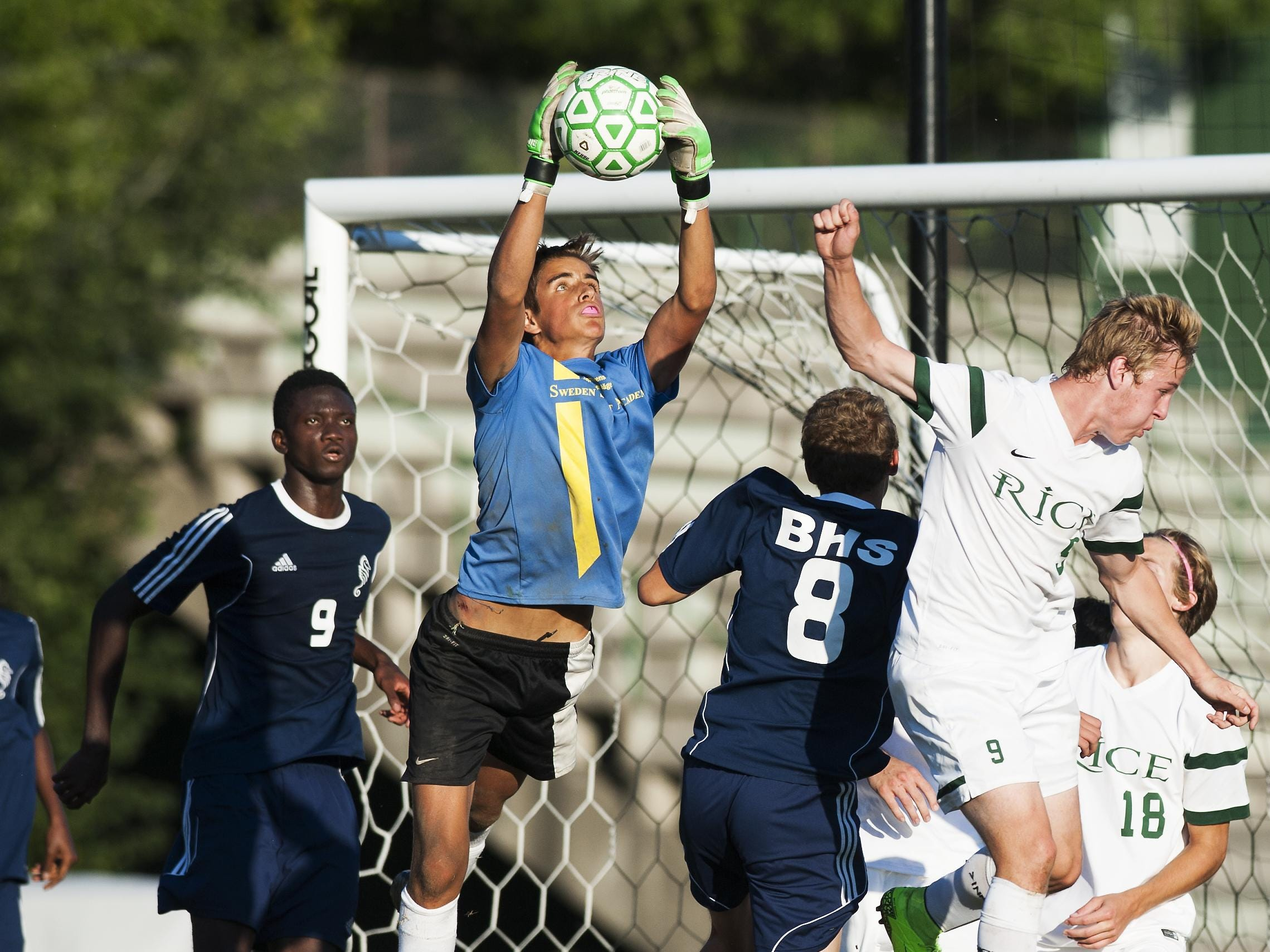 Burlington goalie Niels Arentzen leaps to catch the ball during the boys soccer game between the the Burlington Seahorses and the Rice Green Knights on Tuesday.