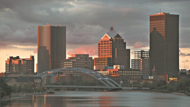Rochester skyline as seen from the Ford Street Bridge in 2012.