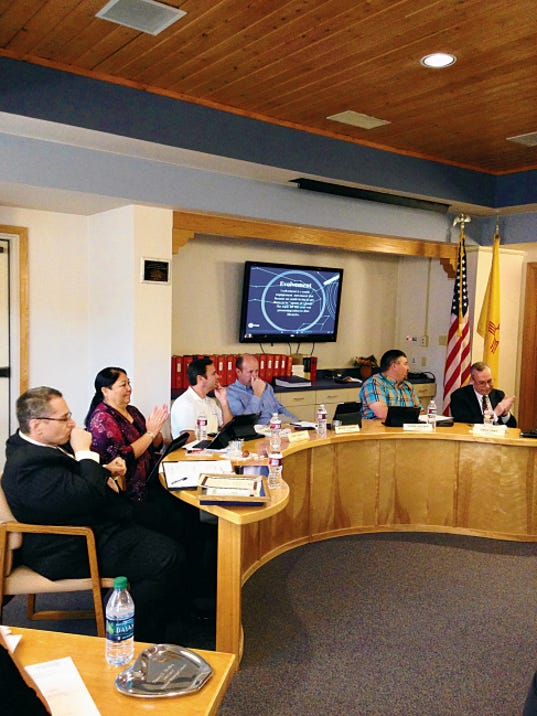 The Ruidoso School Board discusses alternative funding for an associate superintendent position at the May 12 meeting.