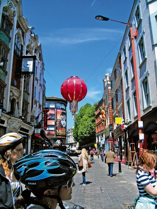 Chinatown on Gerrard Street, one of the stops along a London bicycle tour.