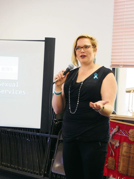 Katherine Gauer, advocacy and crisis coordinator for the Silver Regional Sexual Assault Support Services, discusses the program with the Silver City Rotary Club on April 7. Courtesy Photo