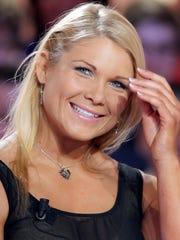 Elizabeth Kocianski takes part in a TV show in Paris in April of 2012. She was a major wrestling star in the WWE as Beth Phoenix.