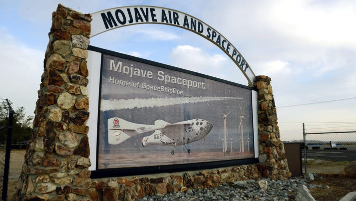 A sign at the entrance to the Mojave Air and Space