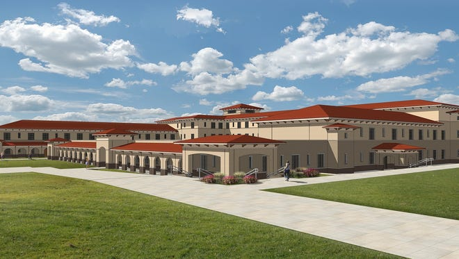 New Mexico State University regents on Wednesday, Aug. 30, 2017, OK'd construction of a $21.5 million residence hall near Corbett Center Student Union. The 300-bed facility, shown here in a design rendering, will cater to freshmen students.