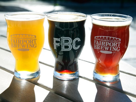 From left, Fluffy, a New England style IPA, Big 'Merican, an imperial brown ale and the Raider's Red, a red Irish ale, are all featured at Fairport Brewing Company.