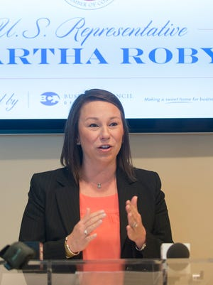 Representative Martha Roby speaks after being endorsed by the US Chamber of Commerce on Monday, Feb. 8, 2016 in Montgomery, Ala.