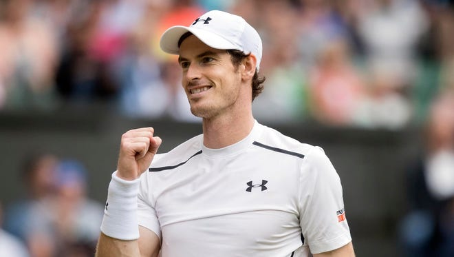 Andy Murray celebrates match point during his match against Nick Kyrgios  during Wimbledon last year.