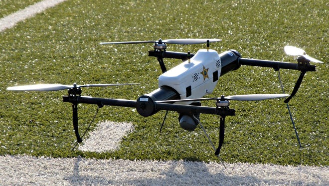 One of several small drones designed for use by law enforcement and first responders is shown at University of North Dakota in Grand Forks, N.D.