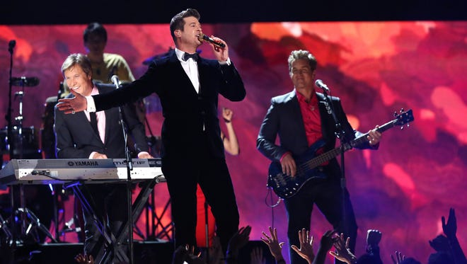 Robin Thicke, at the 56th annual Grammy awards.
