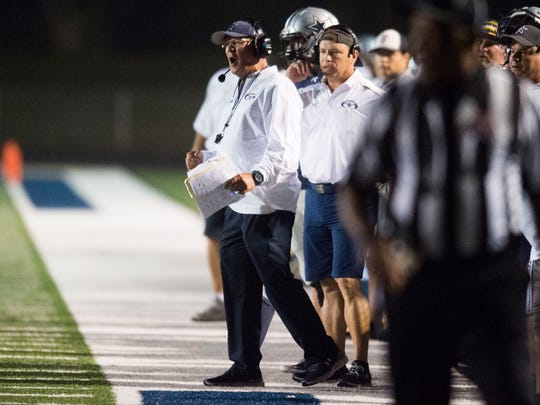 Farragut head coach Eddie Courtney reacts on the sidelines during a high school football game between Farragut and Bearden at Farragut Friday, Oct. 13, 2017.
