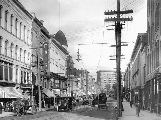 Fowler's was an important part of the Court Street scene, here around 1915.