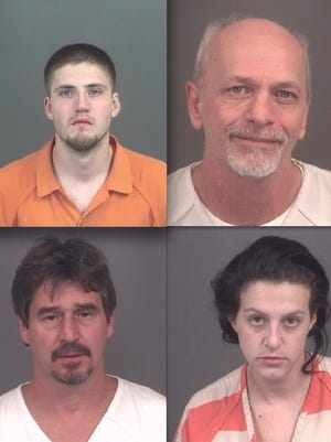 Top row, from left: Brian Wills and Curtis Timberlake. Bottom: Michael Hughes and Kimberly Maas.