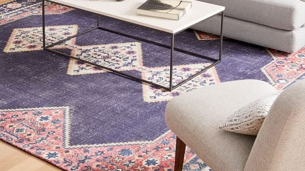 West Elm's Persian-style Ruby Rug is hand tufted from durable wool and cotton, ideal for high-traffic areas.