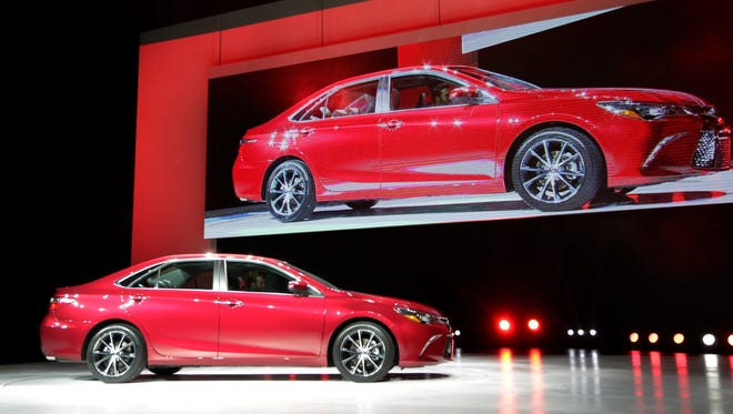 The 2015 Toyota Camry is introduced at the New York International Auto Show