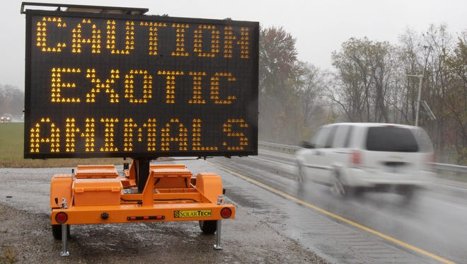 A highway sign warned that exotic animals were on the loose near Zanesville on Oct. 19, 2011.