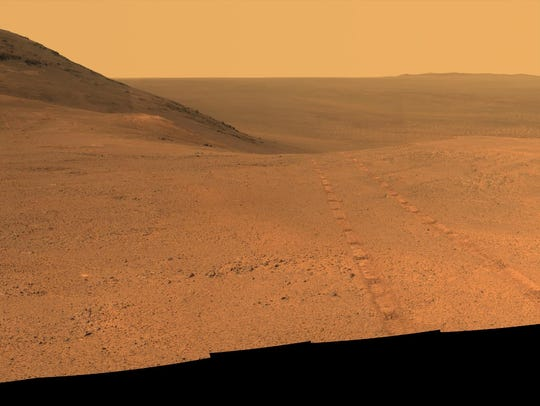 The Mars rover Opportunity took these images in June
