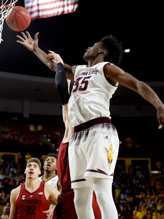 Arizona State forward De'Quon Lake (35) drives against Stanford during the second half of an NCAA college basketball game Saturday, March 3, 2018, in Tempe, Ariz. (AP Photo/Matt York)