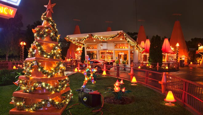 Cars Land at Disney California Adventure park is decked out in bright lights and car-themed seasonal accents during Holidays at the Disneyland Resort, Nov. 13 through Jan. 6, 2016.