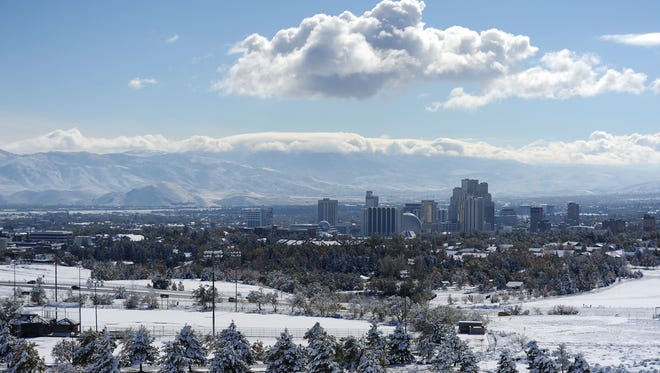 Downtown is seen after a storm blanketed the Reno area with snow on Nov. 10, 2015.