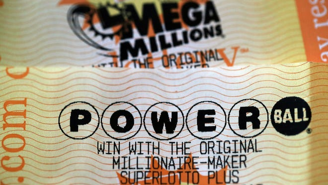 Powerball and Mega Millions lottery tickets are displayed Jan. 3, 2018, in San Anselmo, Calif.