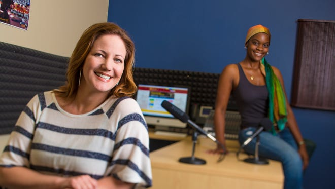 Laurilie Jackson, instructor of Media Production​ at College of the Desert, and alumna and former station manager Shauna Holmes, at KCOD, the college's radio station.